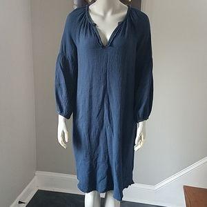 Velvet Graham Spencer Textured Raw Hem Shirt Dress